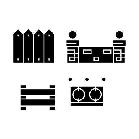 Fences black icon, vector illustration. Fences  concept sign