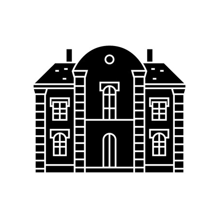 Villa castle black icon, vector illustration. Villa castle concept sign.