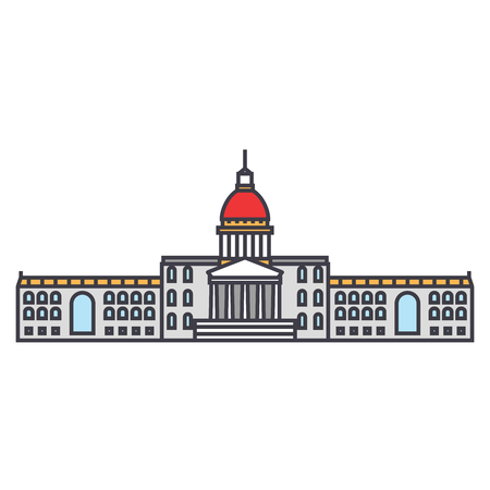 City hall line icon, vector illustration. City hall flat concept sign. Illustration