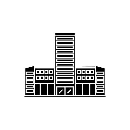 Hospital black icon, vector illustration. Hospital  concept sign Banque d'images - 102219035
