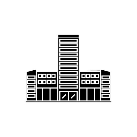 Hospital black icon, vector illustration. Hospital  concept sign Illustration