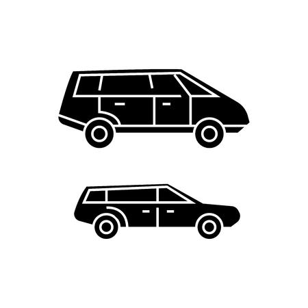 Minivan black icon, vector illustration. Minivan  concept sign Foto de archivo - 103364258