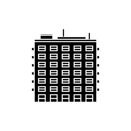 Multi storey building black icon, vector illustration. Multi storey building  concept sign.