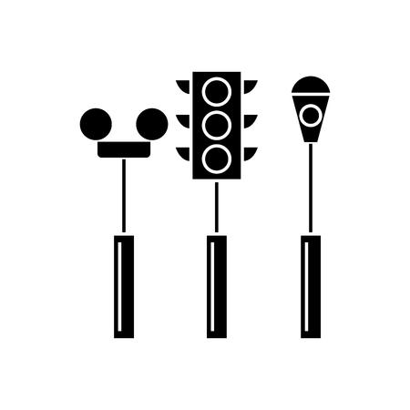 Traffic light black icon, vector illustration. Traffic light  concept sign.