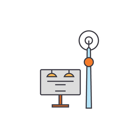 Communication tower line icon, vector illustration. Communication tower flat concept sign.