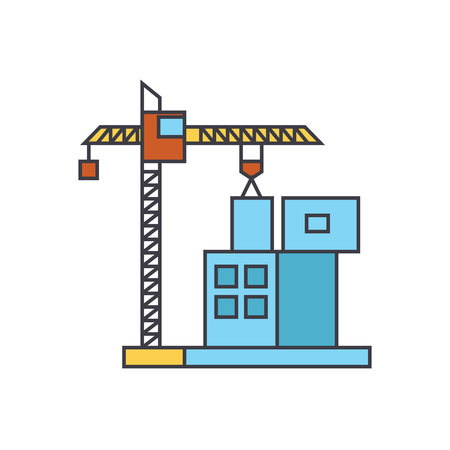 Construction crane building line icon, vector illustration. Construction crane building flat concept sign.