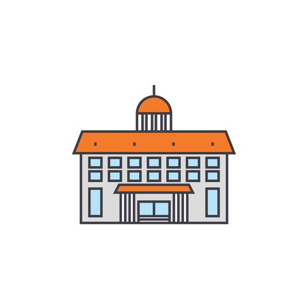 Administrative building line icon, vector illustration. Administrative building flat concept sign. Banque d'images - 102208490