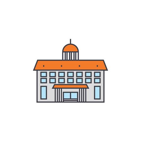 Administrative building line icon, vector illustration. Administrative building flat concept sign.  イラスト・ベクター素材