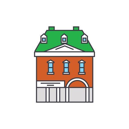 Historic building line icon, vector illustration. Historic building flat concept sign. Ilustração