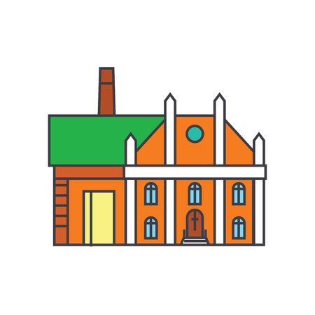 Factory line icon, vector illustration. Factory flat concept sign.