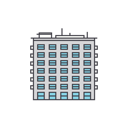 Multi storey building line icon, vector illustration. Multi storey building flat concept sign.