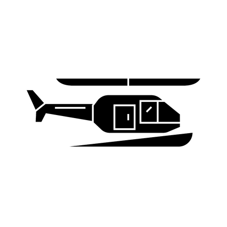 Helicopter black icon, vector illustration. Helicopter  concept sign