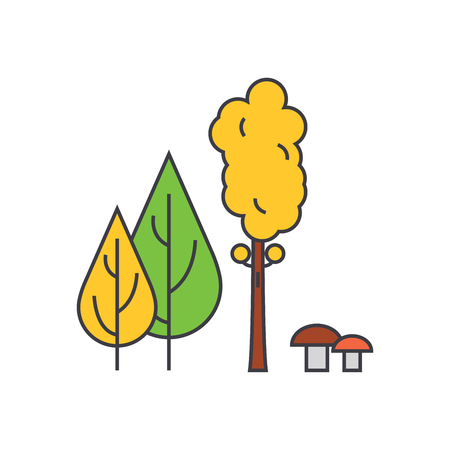 Forest trees line icon, vector illustration. Forest trees flat concept sign.