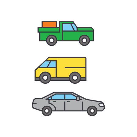Pickup car line icon, vector illustration. Pickup car flat concept sign.