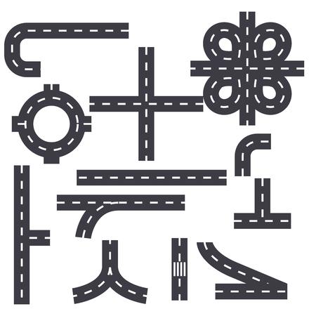 Icône de ligne d'éléments de carte routière, illustration vectorielle. Carte routière éléments signe concept plat.