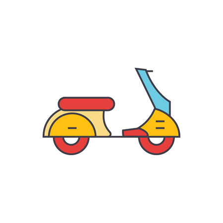 Scooter line icon, vector illustration. Scooter flat concept sign. Illustration