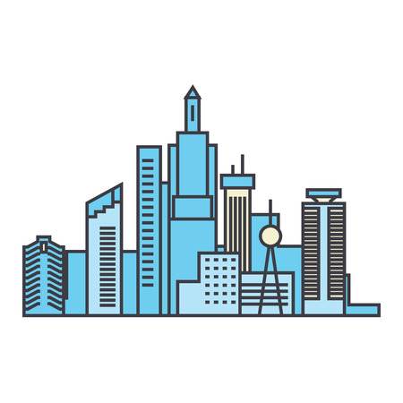Capital skyline line icon, vector illustration. Capital skyline flat concept sign.