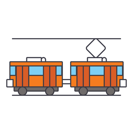 Tram line icon, vector illustration. Tram flat concept sign.