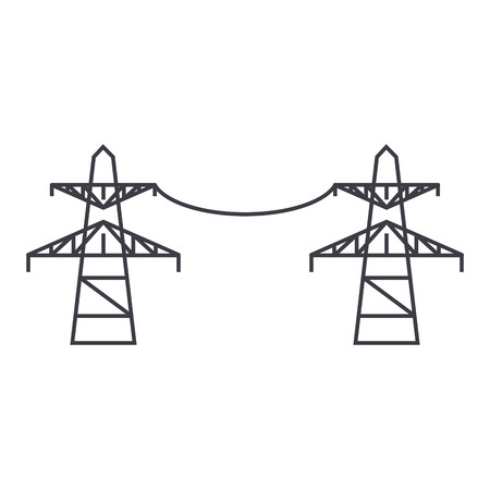 Transmission lines line icon, vector illustration. Transmission lines flat concept sign. Vectores