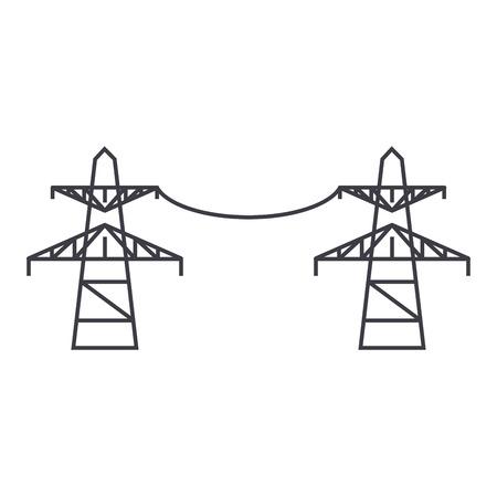 Icono de línea de líneas de transmisión, ilustración vectorial. Signo de concepto plano de líneas de transmisión.