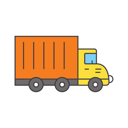 Truck car line icon, vector illustration. Truck car flat concept sign.