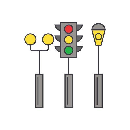 Traffic light line icon, vector illustration. Traffic light flat concept sign.
