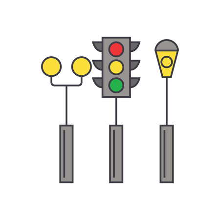 Traffic light line icon, vector illustration. Traffic light flat concept sign.