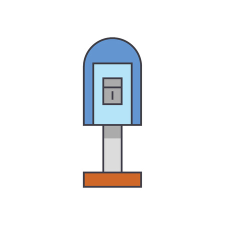 Post office box line icon, vector illustration. Post office box flat concept sign.