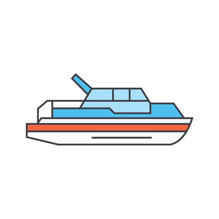 Yacht line icon, vector illustration. Yacht flat concept sign. Illustration