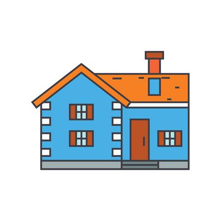 Village cottage line icon, vector illustration. Village cottage flat concept sign.