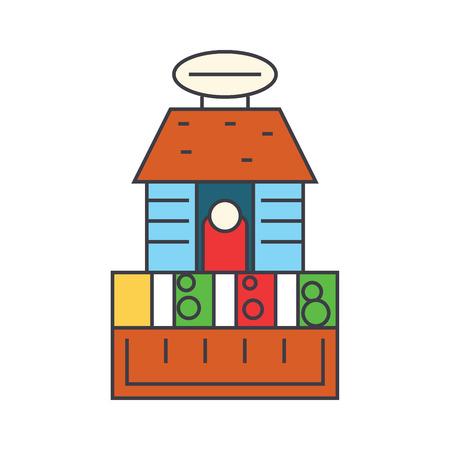 Market place line icon, vector illustration. Market place flat concept sign.