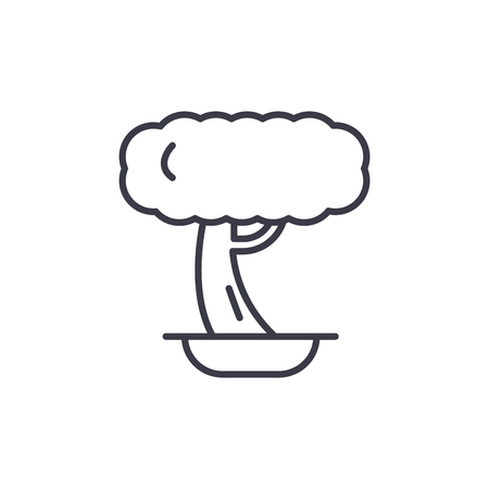 Bonsai line icon, vector illustration. Bonsai flat concept sign.
