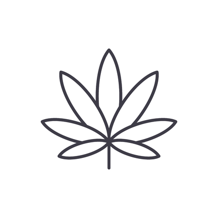 Cannabis line icon, vector illustration. Cannabis flat concept sign. Standard-Bild - 103366533