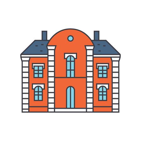 Villa castle line icon, vector illustration. Villa castle flat concept sign.