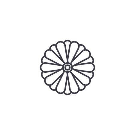 Aster flower line icon, vector illustration. Aster flower flat concept sign.