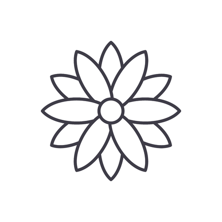 Calendula line icon, vector illustration. Calendula flat concept sign.