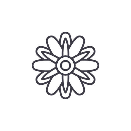 Cute aster  line icon, vector illustration. Cute aster  flat concept sign. Illustration