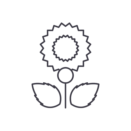 Carnation line icon, vector illustration. Carnation flat concept sign.
