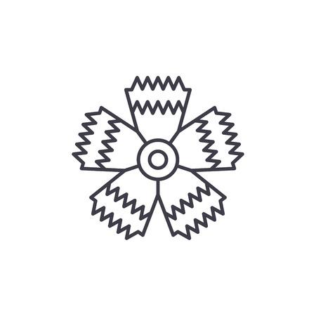 Carnation flower line icon, vector illustration. Carnation flower flat concept sign.