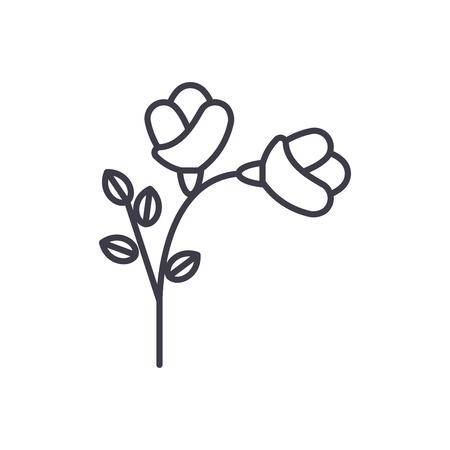 Freesia line icon, vector illustration. Freesia flat concept sign.