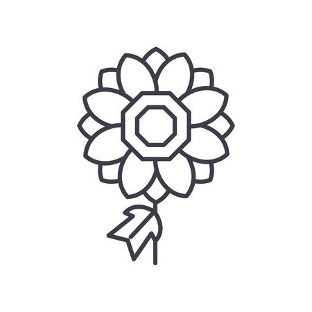 Dhalia line icon, vector illustration. Dhalia flat concept sign.