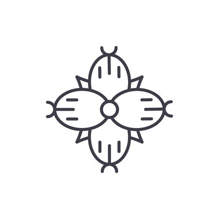 Dianthus line icon, vector illustration. Dianthus flat concept sign. 일러스트