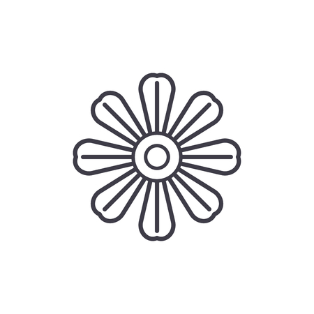 Daisy flower line icon, vector illustration. Daisy flower flat concept sign.
