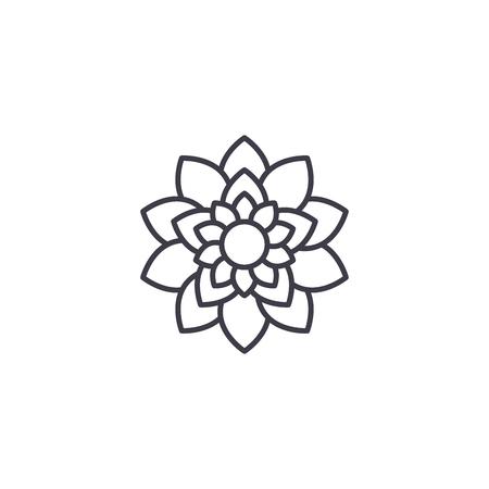Icono de línea de flor de loto, ilustración vectorial. Signo de concepto plano de flor de loto.
