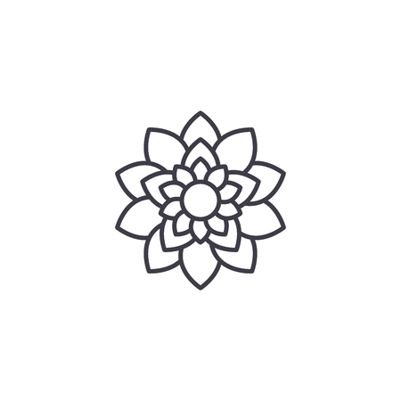 Lotus flower line icon, vector illustration. Lotus flower flat concept sign. Vettoriali