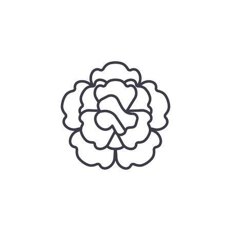 Floral carnation line icon, vector illustration. Floral carnation flat concept sign.