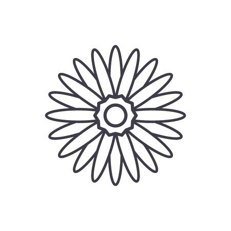 Gerbera flower line icon, vector illustration. Gerbera flower flat concept sign.