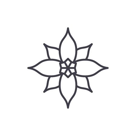 Poinsettia line icon, vector illustration. Poinsettia flat concept sign. Illustration