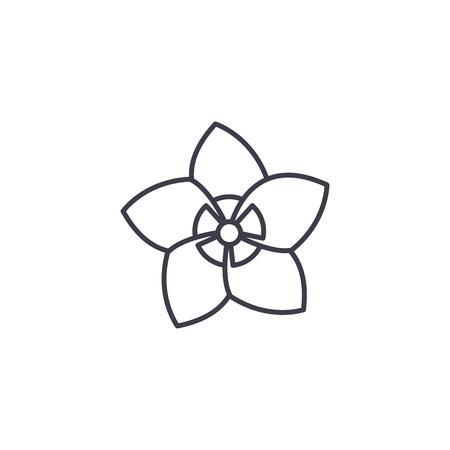Jasmine flower line icon, vector illustration. Jasmine flower flat concept sign. Illustration