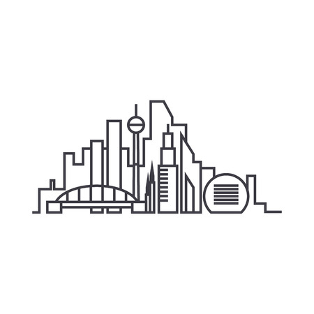 City skythin line thin line icon, vector illustration. City skythin line linear concept sign.